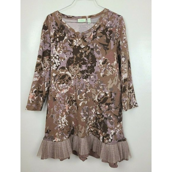 LOGO Lounge Womens Brown Floral 3/4 Sleeve Layered Hem Tunic Top Size Medium